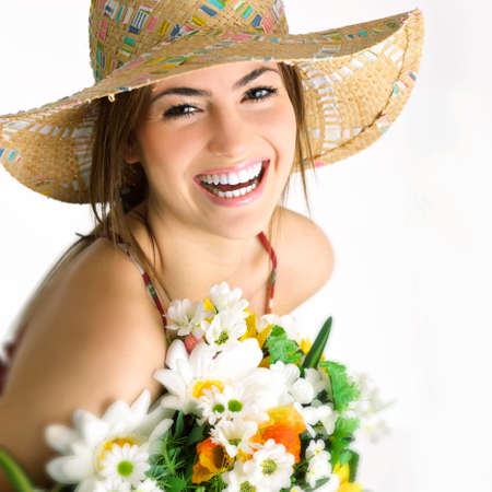expressive face: girl with bouquet