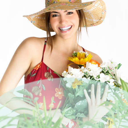 model girl with bouquet