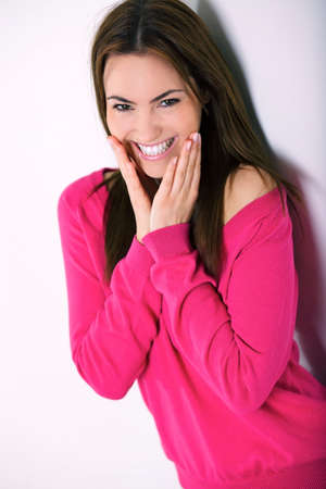portrait of young  woman with smile and hands