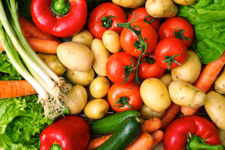 fresh vegetables on table after market Stock Photo