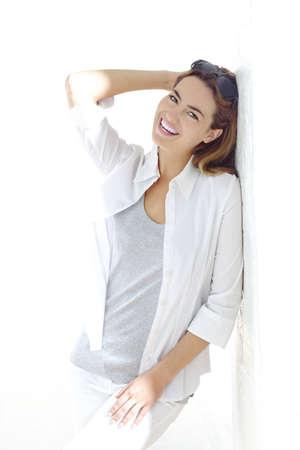 woman in white interior