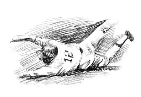 Baseball player home run slide drawing. A hand drawn of baseball player sliding to the base for winningl. black and white drawing with pencil photo