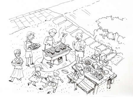 gas barbecue: Barbecue party at the yard illustration. Family and friends barbecue party at the yard