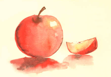 adam eve: Apple water color illustration. Beautiful painting of red apple. Good art to use for your reciepe book for food book Stock Photo