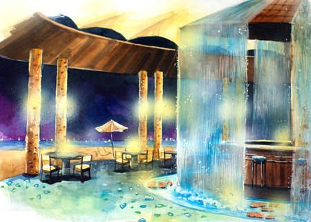 beach bar at night water color illustration. Water color resort by the beach illustration. Beautiful bar next to the sea  illustration