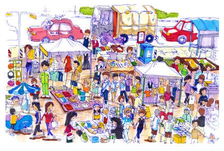 아시아에서 생생한 화려한 벼룩 시장. 아시아 잘 벼룩 또는 일요일 시장의 종류는 좋은 가격과 좋은 품질을위한 쇼핑 장소를 알고