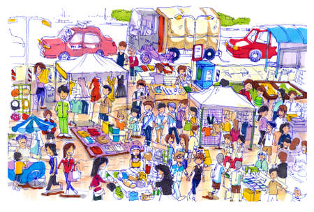 Mercato delle pulci vivace e colorato in Asia. Sorta di mercato delle pulci o domenica in Asia ben noto luogo di shopping per un buon prezzo e ottima qualità Archivio Fotografico - 23045951