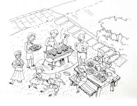 Grigliata l'illustrazione cantiere. Famiglia e amici barbecue party presso il cantiere