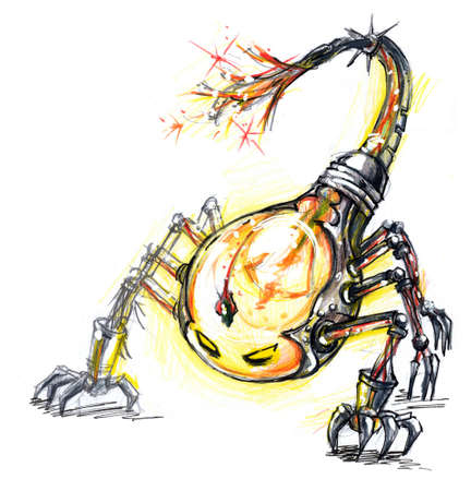 eletrical: energy consume monster, scorpion bulb a concept design of bulb monster. Combination of scorpion and incandescent light bulb. Showing the world environment enemy consuming the power.