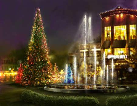 크리스마스 쇼핑, 검은 금요일, 저녁 식사를위한 로맨틱 한 장소 스톡 콘텐츠