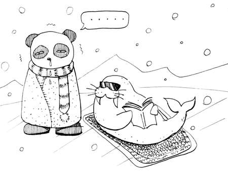 Funny cartoon sick panda and suntan walrus in north pole Stock Photo - 23046189