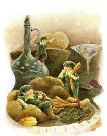 dinner party: Elf fairytale holiday party turkey dinner  Stock Photo