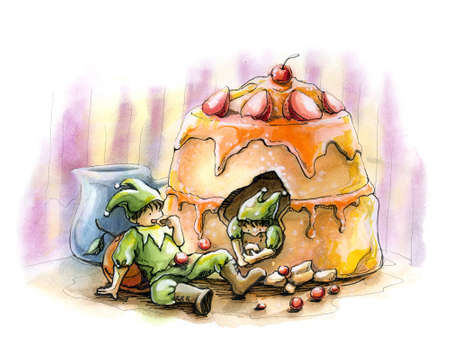 Elf fairytale holiday party cake watercolor illustration illustration