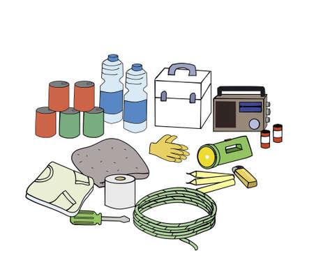 überleben: Notfall-Sets Essencial Notfallkoffer, wenn die Katastrophe passiert. Lizenzfreie Bilder