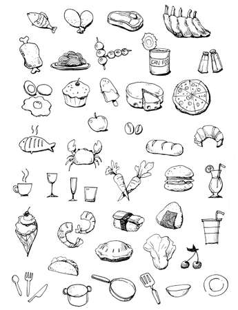 Food icons hand drawn illustration Hand draw food icons isolated on the white background illustration
