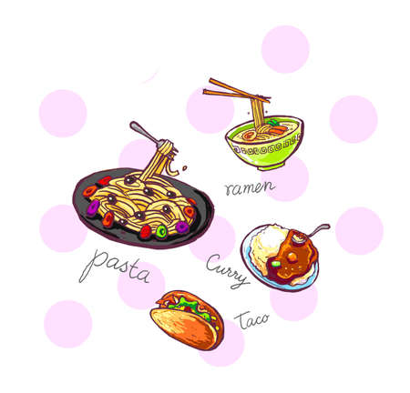 international food icons illustration hand drawn illustration