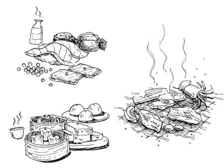 dim sum: food hand drawn, sushi, sake, baebecue, dim sum, chinese bun , grilled meat Stock Photo