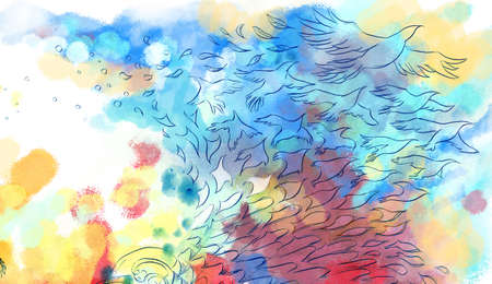 flew: Abstract colorful dreamy bird fly background