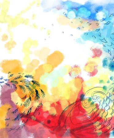 oiseau mouche: R�sum� oiseau r�veur voler fond color� Banque d'images