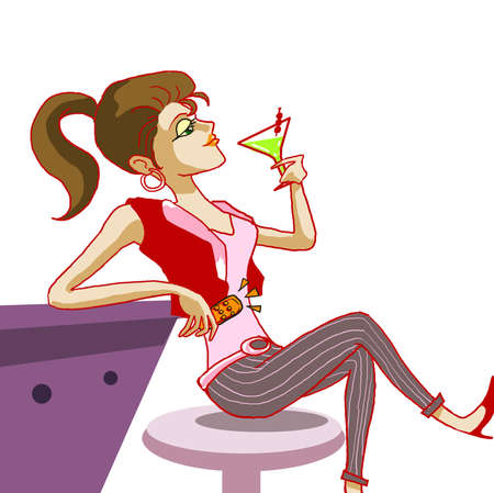 quietly: girl drinking cocktail in night club illustration Stock Photo
