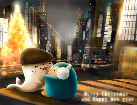 hong kong night: Christmas and new year greeting card