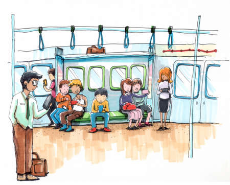 everywhere: mobile society. everyone is on internet and their smart phone  Stock Photo