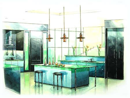 Cucina moderna arte dalla pittura di colore di acqua Archivio Fotografico - 23046219