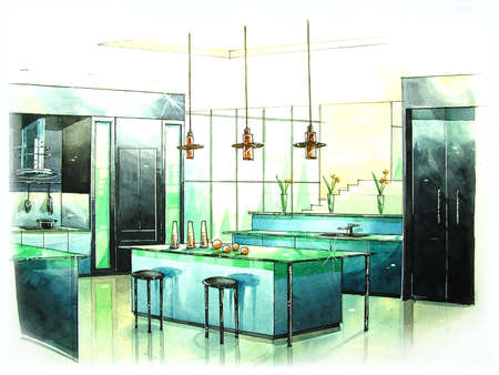interior drawing: modern kitchen art from water color painting Stock Photo