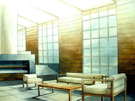 modern living room loft with light