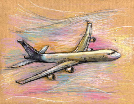 plane drawing on color paprt photo