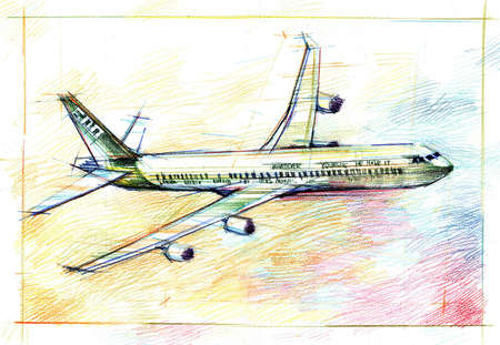 plane drawing in color pencil photo