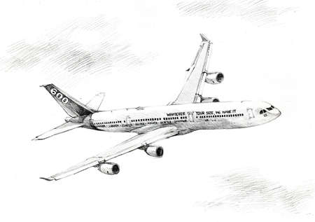 plane drawing black and white photo