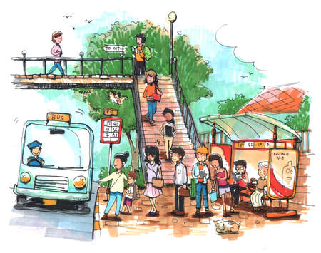 transportation cartoon: Bus stop, public transportation cartoon drawing Stock Photo