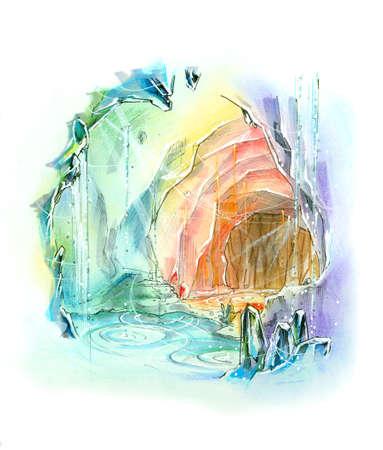 석영 동굴 무지개 색깔 판타지 개념 그림