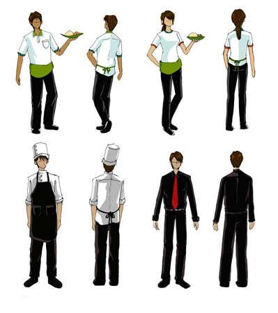 restaurant people and uniform illustration illustration