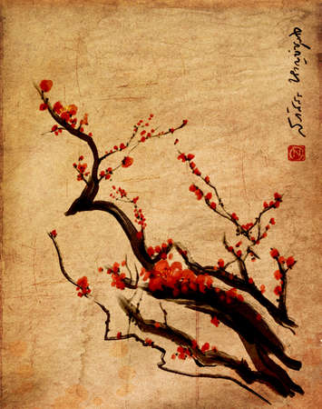 Sakura, cherry blossom plum chinese brush paintingRed cherry blossom chinese brush painting Redakční