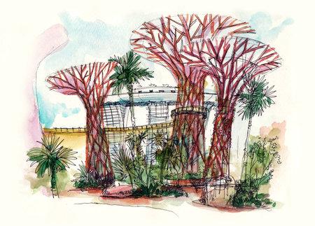 싱가포르 그림에서 베이 슈퍼 나무로 정원 에디토리얼