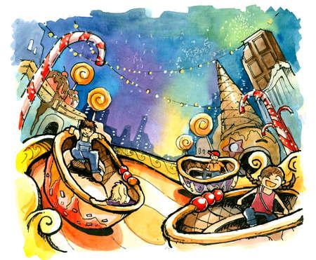 theme park, amusement park illustration fun summer Stock Photo