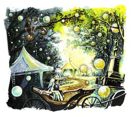 horse like: Wedding in the park illustration