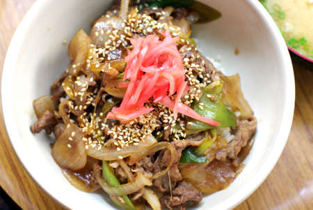 gulden: japanese beef over rice, gyudon food set