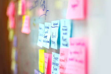 sticky paper: post it on brain storm board