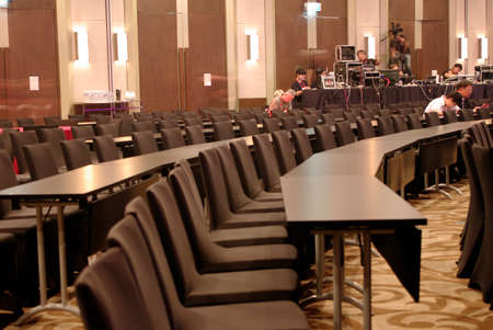 conference hall room with backstage control