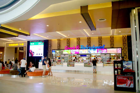 cinema theater entrance, snack and refreshment counter