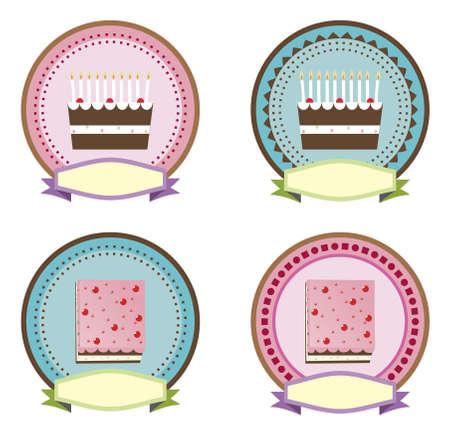�pastries: torta ic�nico Vectores