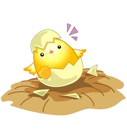漫画の新しい生まれた赤ちゃんの鶏の卵