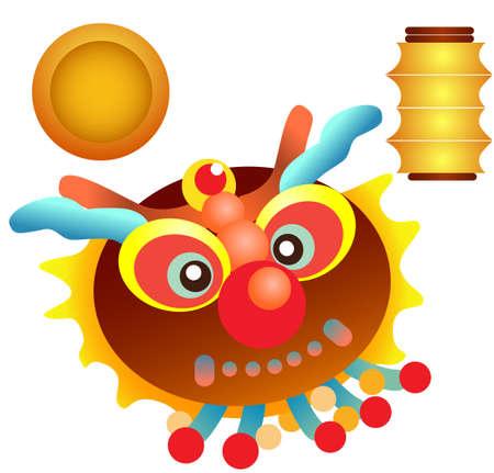 chinese lion, lantern, gold coin cartoon vector Çizim