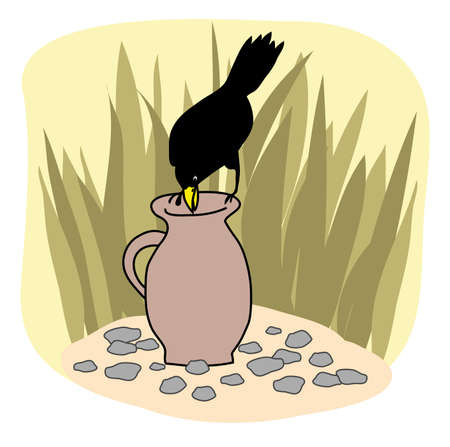 Black crow and a jug Aesops Fables vector