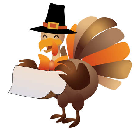 Happy thanksgiving, turkey with sign illustration