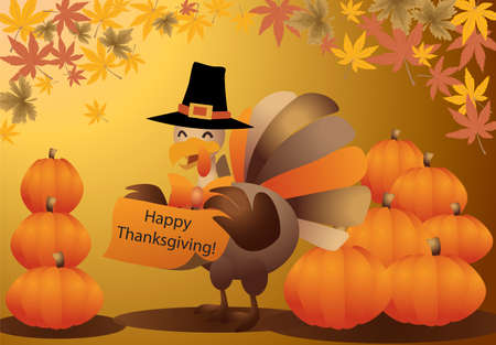 Happy thanksgiving, halloween turkey illustration Vector