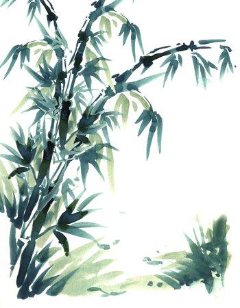 中国のブラシの絵画の竹。水カラー絵画中国ブラシのスタイルで。竹の美しい黒と緑の色。